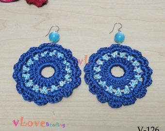 Blue Color Thread Crochet Flower Earring (V-126)