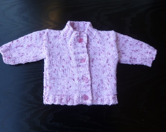 Handmade knitted baby girls speckled pink round necked cardigan. - age 0 months - 3 months