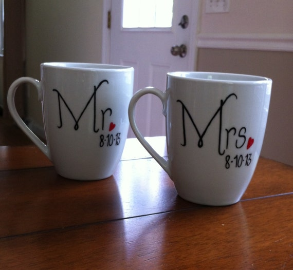 Mr And Mrs Wedding Coffee Mugs Personalized with wedding date