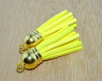 NEON Yellow Tassel Charm- Set of 2 -T32-