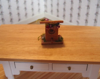 Dollhouse Miniature Bird House Embellished With Dried Flowers