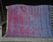 Willow leaf scarf with cochineal (red) and indigo (blue)