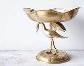 HOLD for Viktoria  Vintage Brass Crane Statue, Brass Crane Figurine, Regency Brass Sculpture, Brass Bowl, Good Luck Crane, Wedding Decor
