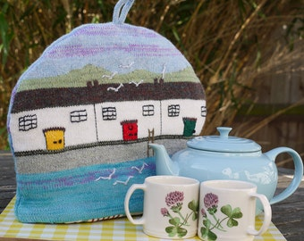 Knitted Tea Cosy with seaside design