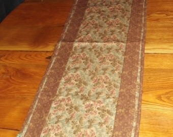 Table Runner, Homemade, Brown, Home Decor, Made in Michigan, Kitchen Decor, Flowers
