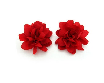 Floral Shoe Clips - Chiffon (Red)