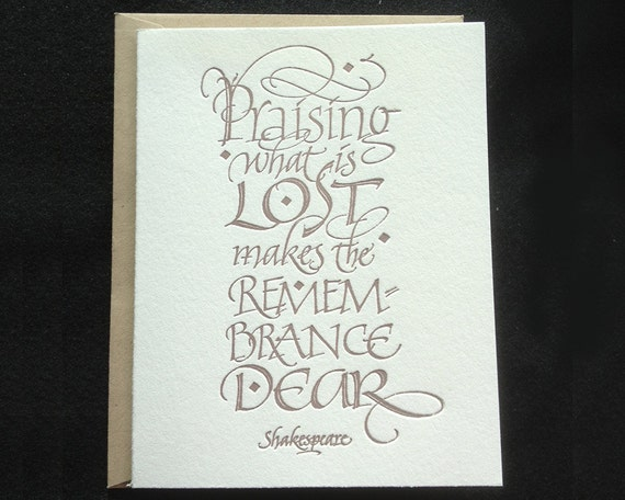 Sympathy card letterpressed calligraphy
