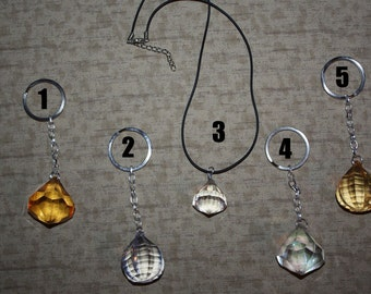 Glass Gem Jewel Necklace or Keychain - SELECT STYLE