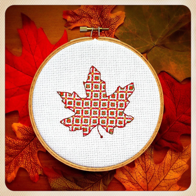 Maple Leaf Cross Stitch Pattern Autumn Maple Leaf Cross Stitch