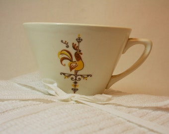 Super cute mid-century rooster coffee cup- weathervane pattern-yellow and ivory ceramic cup