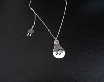 """Sterling silver light bulb necklace with chain """"Epiphany"""""""