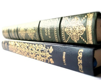 Set of TWO old French books - vintage green and dark blue with gold cover chic French decor