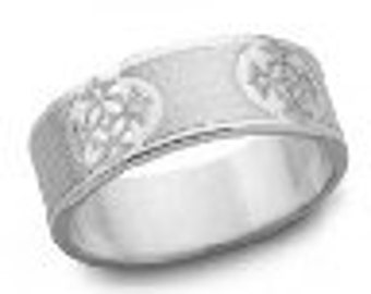 French Cross Engraved Christian Wedding Band 7mm Sterling Silver 7mm Wide