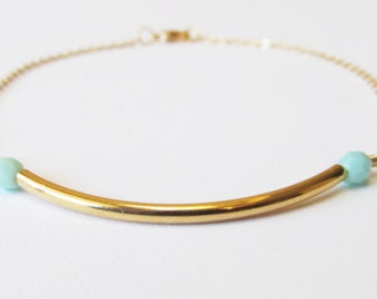 Dainty Beaded Bar Gold Bracelet, 14kt Gold Filled Bracelet, Gift for Her