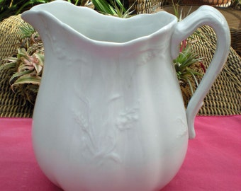Antique White Ironstone Pitcher - Wheat & Rose Shape - Alfred Meakin - England - Antique Collectible - English Country - Wedding Gift - R