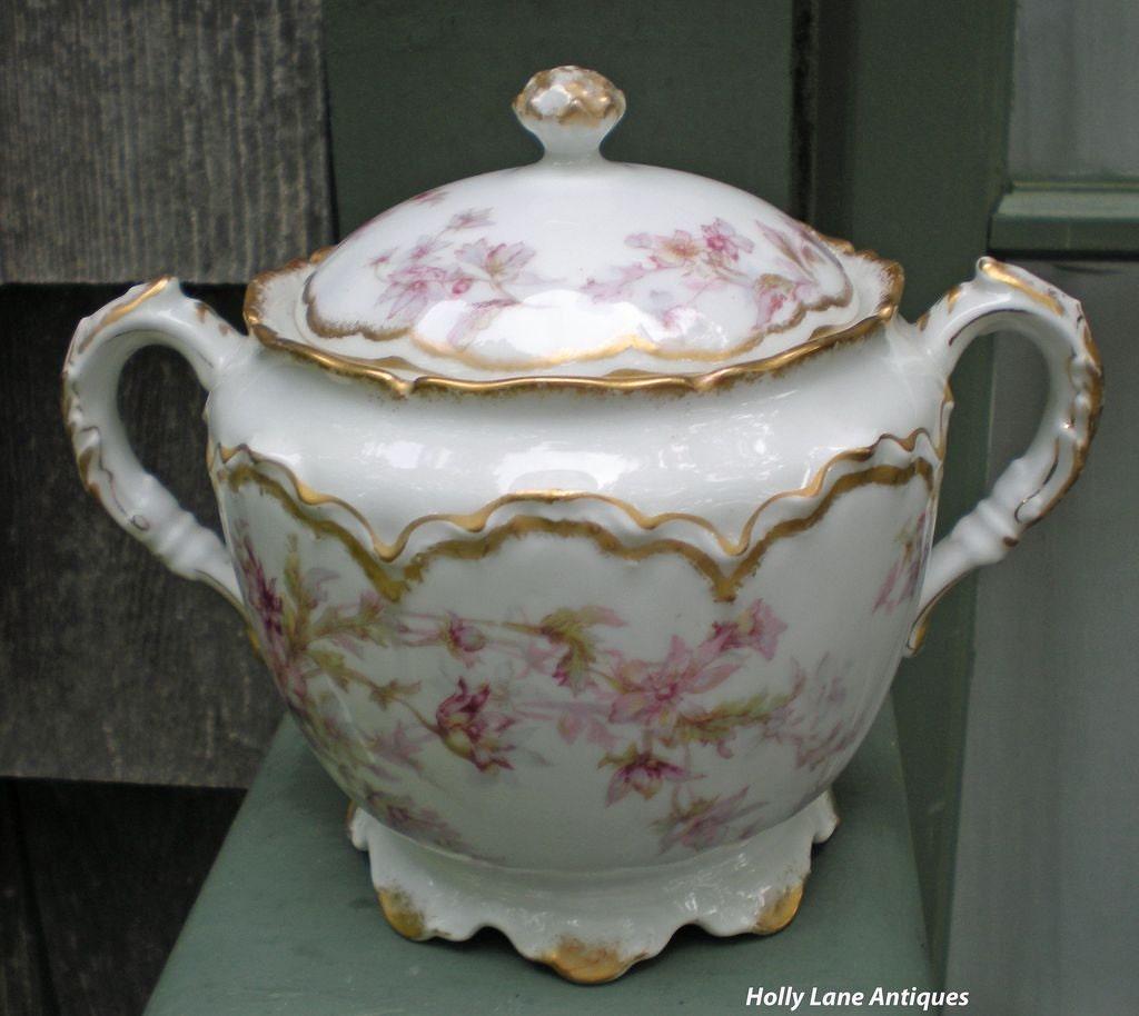 Antique Haviland Limoges Sugar Bowl Schleiger 91