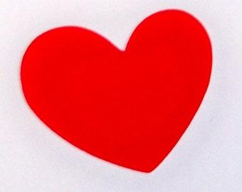 50 red 2 inch heart shaped diecut