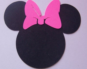 25  Minnie Mouse heads 3 inch black cardstock with pink or red bow