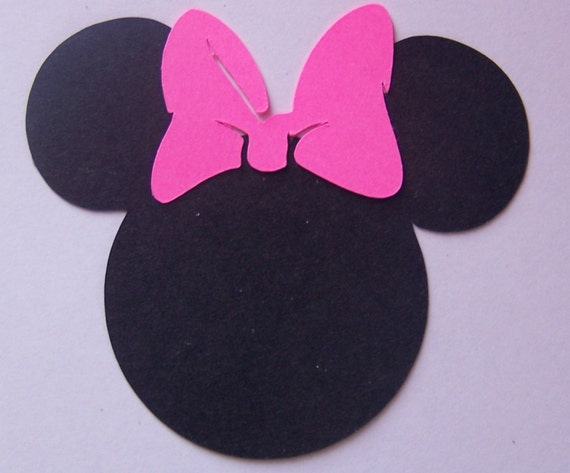 50 black 2 inch minnie mouse heads with pink or red bow