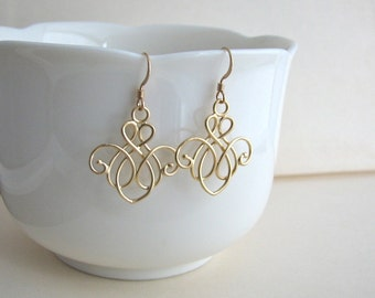 Matte Gold Twist Earrings - gold filled ear wires