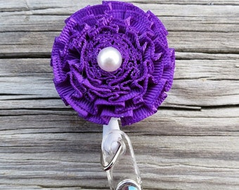 ID Badge Holder in Pleated Ribbon Flower Retractable ID Badge Holder Solid  Purple Color