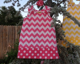 "Hot Pink ""Medium"" Chevron Dress (girls, infant, toddler, child)  jumper or sundress, with matching hair accessory"