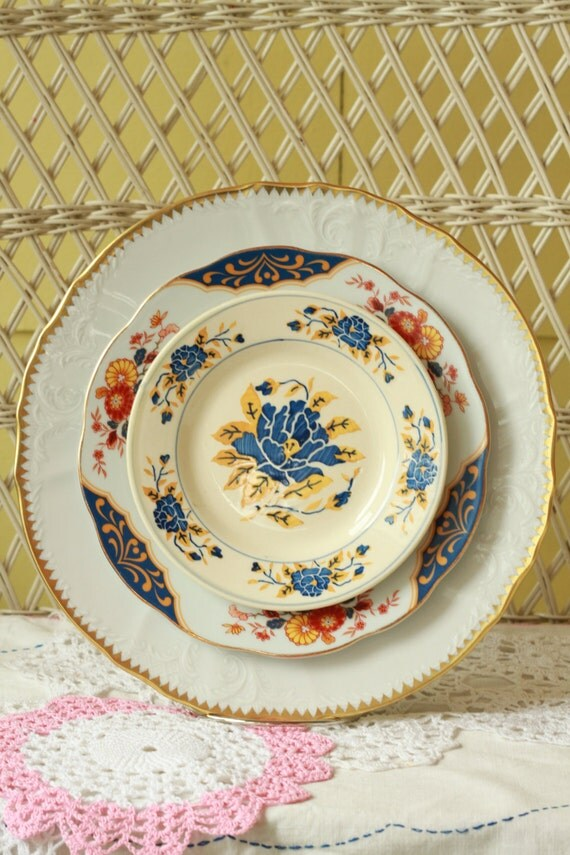 Mismatched Dishes, Dinnerware, Eclectic dishes, French Garden
