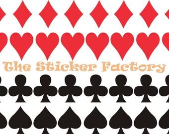 40 1 inch Poker Card Suits Spade Diamond Club Heart Vinyl Wall Art Decal Sticker