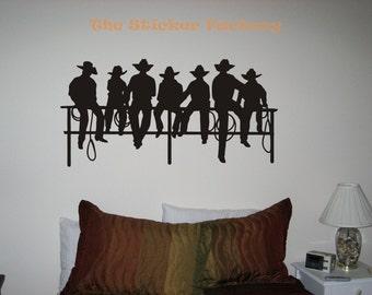 Cowboys Fence Western Vinyl Wall Art Decor Decal Stickers