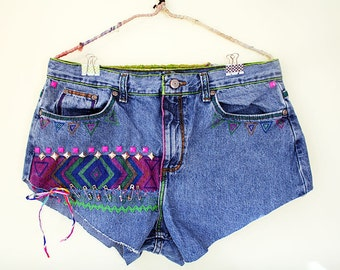 Vintage Vibrant Jean Shorts, Upcycled Denim w Trendy Tribal Pattern, Embroidery, Studs, and Beaded Safety Pins Detailing Festival Boho Chic