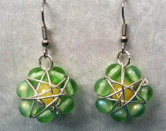 Green & Yellow Beads Earrings
