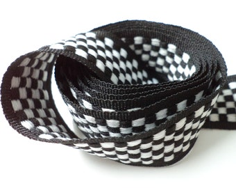 5 YARDS Black and White Print Trim Ribbon  0.8'' - for Crafts, Sewing , Accessories