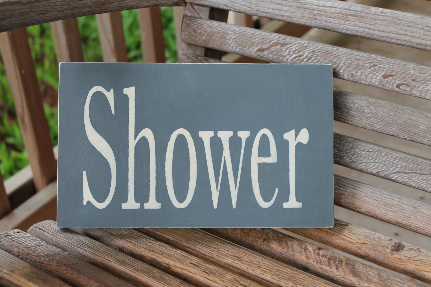 Shower Wood Sign Rustic Bathroom Sign Bathroom Wall Art