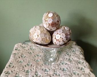 Paper Mâché Vintage Button Eggs