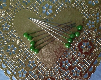"""Set of 10, 2"""" long Green Round Pearl Corsage/Straight Pins"""