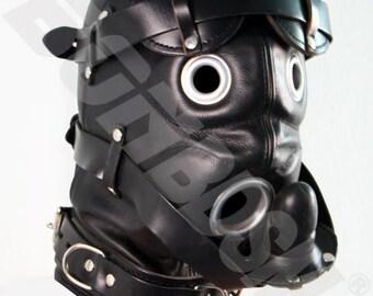 The Loon bdsm mask, locking leather hood with pure silicone gag, black Leather fetish bondage gimp mask hood, Mature