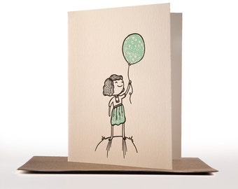 Balloon girl Letterpress Greeting Card – DISCONTINUED SALE