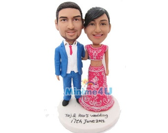 Indian style custom handmade wedding cake topper  (Free Shipping Worldwide)