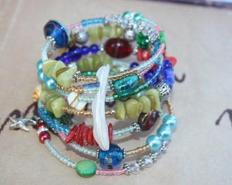 Seven Wrap Colorfull Memory Wire Beaded Bracelet