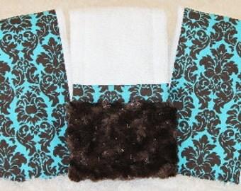 Baby Burp Cloths, Chocolate Mint Damask Burp Cloth Set,