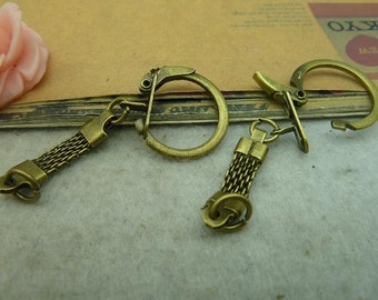 20 antique bronze 24x60mm Keychains AC3675