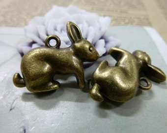 6pcs 8x20x26mm Antique Bronze Rabbit Charms Pendants Jewelry Findings AC1520