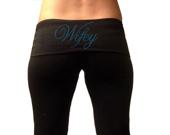 Custom Wifey Black Fold Over Yoga Pants with Blue Rhinestones . Custom Bridal Yoga Pants . Custom Wifey Yoga Pants . Wifey Yoga Pants .