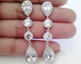 925 sterling silver Bridal Earrings,Crystal Tear Drop Bridal earrings,wedding earrings,cz earrings,clear crystal,stone earrings