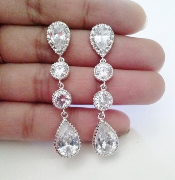 Famoso 925 sterling silver sposa orecchini orecchini di cristallo OW13