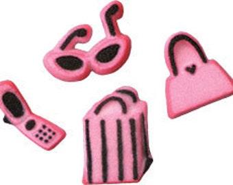 40 Edible Diva Shopping Pieces Sugar Decorations        Simply Darling