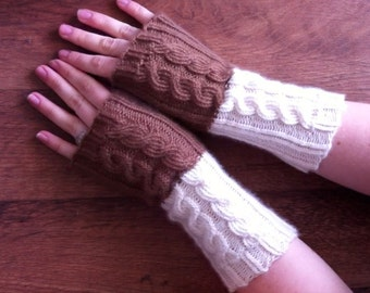 Hand Knitted Womens Cashmere Cabled Fingerless Gloves Armwarmers - Toffee Brown & Cream White