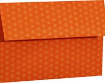 25 Orange Polka Dot A-6 4X6 Envelope 4-3/4 x 6-1/2 Envelope