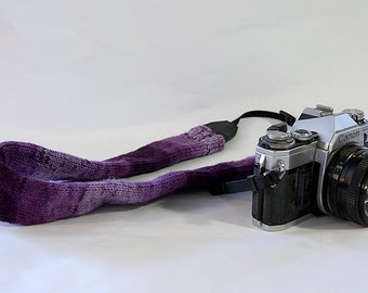 Purple Knit Camera Strap Cover, Boho Camera Strap Cover