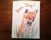 You're Foxy Fox - Hand-Drawn Funny Fox Card - Funny Valentines Card